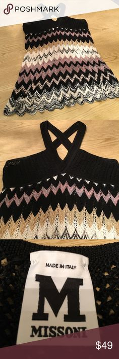 MISSONI KNIT TOP MISSONI KNIT TOP.  Lined Breast. Classic Herringbone Pattern. Criss Cross Back Straps. Scallop Edge.   Size 48. Wore only once. Missoni Tops Tank Tops