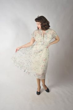 Vintage 1940s Dress // The Sweet Wishes Ultra Sheer Seersucker Day Dress from FabGabs on Etsy