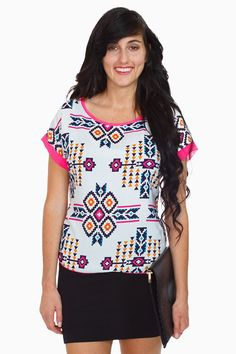 White Printed Short Sleeve Top #pink #trim #tribal #aztec
