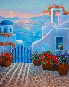 Arte pintura al óleo Grecia atardecer pintoresco por rbealart, $299.00