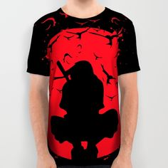 74a25dbc6994 ALL OVER PRINT SHIRT / MEDIUM: Silhouette Itachi #naruto #itachi #uchiha  #clan #grunge #society6 #cool #awesome #illustration