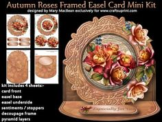 "Autumn Roses Framed Easel Card Mini Kit on Craftsuprint designed by Mary MacBean - Shaped easel card with a beautiful Autumn roses. The kit has 4 sheets which include the card front, decoupaged frame, pyramid layers, the easel base and the easel underside. There are 4 sentiment tags/stoppers including a blank one for your own message. The finished size is approximately 7"" x 7"". Instructions are included. - Now available for download!"