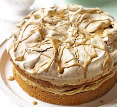 This recipe pairs a nutty meringue with coffee-flavoured Victoria sponge. No wonder it made it into the top three in our birthday cake competition. From BBC Good Food magazine. Bbc Good Food Recipes, Sweet Recipes, Baking Recipes, Cake Recipes, Dessert Recipes, Cake Competition, Meringue Cake, Cake Mixture, Walnut Cake