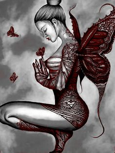 Butterfly Art by on DeviantArt Gothic Fee, Elfen Tattoo, Elfen Fantasy, Gothic Fantasy Art, Fairy Drawings, Fairy Tattoo Designs, Fairy Pictures, Butterfly Fairy, Beautiful Fairies