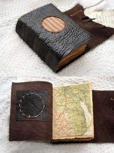 The Traveler - Rustic Brown Leather Journal with Tea Stained Pages, Vintage Striped Fabric & Vintage Maps OOAK by Louise of Bibliographica