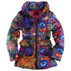 Right side made of multicoloured waterproof polyester fabric. Fuchsia synthetic lining. Thick quilted padding. Fine fitted hood inside the collar. Front zip. Drawstring at the waistband. Press-stud pockets on the front. - $ 132.00