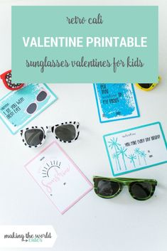 Retro Cali Valentine Printables to give with kids sunglasses! Valentines Day Activities, Valentines Day Party, Valentines For Kids, Valentine Day Crafts, Free Printable Gift Tags, Printable Cards, Cali, Teacher Cards, Valentine's Day Printables