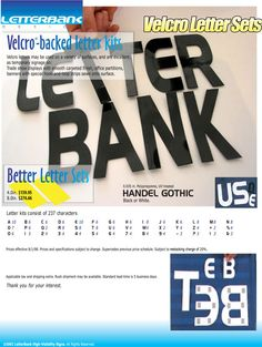 letterbank die-cut velcro® brand fasteners on plastic letters for changeable signs.