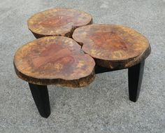 Gorgeous Tree Stump Coffee Tables Collection : Dazzling Three in One Tree Stump Coffee Table Design Inspiration for Beautiful Minimalist Living Room Decoration