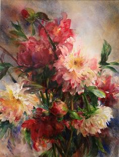 Beautiful composition and color in this painting of flowers. #art #fleurs #watercolor