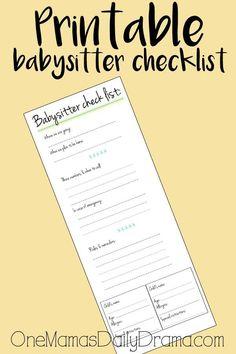 Printable babysitter