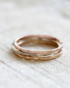 14k gold hammered stacking rings set of 3 rings from praxis jewelry
