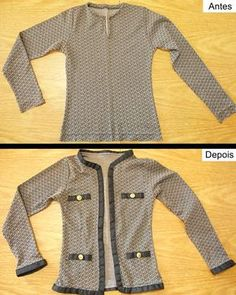 cardigan too small refashion Diy Clothes Refashion, Sweater Refashion, Refashioned Clothes, Remake Clothes, Sewing Clothes, Sewing Alterations, Pullover Shirt, Creation Couture, Clothing Hacks