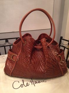 Cole Haan Genevieve MINT Woven Leather Saddle Weave Tote Shoulder Hand Bag Purse #ColeHaan #TotesShoppers GORGEOUS!!! RARE!!! BEAUTIFUL GENEVIEVE WOVEN LEATHER DENNEY WEAVE LARGE BAG IN THE ALWAYS POPULAR & STUNNING SADDLE BROWN / COGNAC BROWN COLOR!!! ONLY ONE!!! SALE!!! WOW!!!