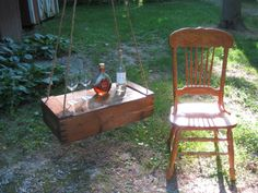 HANGING TABLE- Old Wood Crate repurposed into a Table