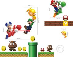 Mario Wall Sticker Home Decor Cartoon Wall Decal DIY for Kids Room Decal Baby Vinyl Mural Nursery