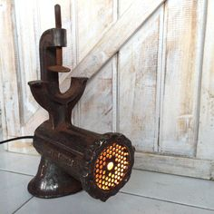 Vintage Meat grinder turn into upcycle table lamp