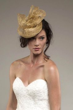 ABRIANNA – Gold mesh bridal fascinator headpiece with vintage jewelry. $325 http://www.thefeatheredhead.com/products/abrianna