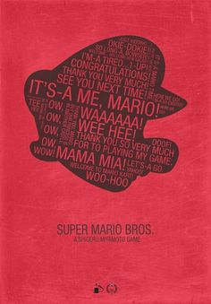 Super Mario Typography /// by Kody Christian /// For sale at Society6.com