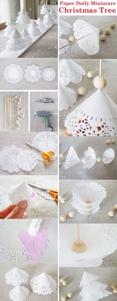 """""""Make these beautiful paper doily miniature #Christmastree as a part of your Christmas #decorations tonight. Easy to make and also economical! """""""