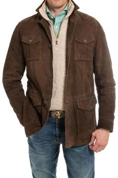 Gimo's Sonoma Suede Jacket in Chocolate Suede - Mens - Outerwear - Leather - AXEL'S - 1