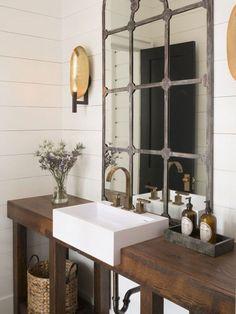 Modern farmhouse bathroom mirror country powder room with sink specialty door high ceiling ideas mir Industrial Bathroom Vanity, Farmhouse Bathroom Mirrors, Bathroom Vanity Decor, Rustic Vanity, Rustic Bathroom Vanities, Shiplap Bathroom, Concrete Bathroom, Farmhouse Sinks, Ikea Bathroom