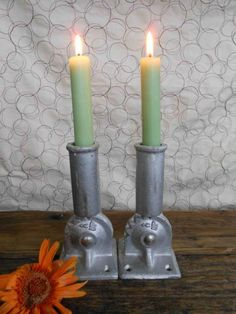 Industrial Candle Holders from Flag Brackets