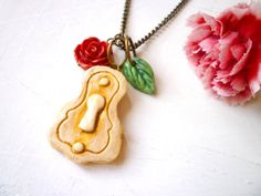 Lock Necklace  Romantic Gypsy Lock  Caravan Roses by Palomaria, $30.00