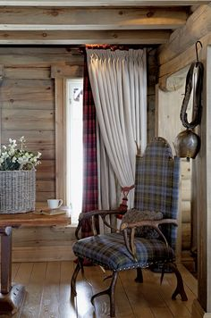 Plaids and rustic chair
