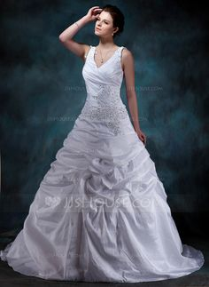Wedding Dresses - $232.99 - A-Line/Princess V-neck Court Train Taffeta Wedding Dress With Ruffle Lace Beadwork (002001588) http://jjshouse.com/A-Line-Princess-V-Neck-Court-Train-Taffeta-Wedding-Dress-With-Ruffle-Lace-Beadwork-002001588-g1588