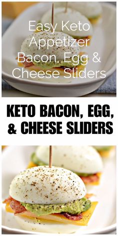 This easy keto appetizer is a crowd favorite! Bacon, Egg, and Cheese Sliders with Homemade Guacamole are a tasty low carb snack with only two net carbs each!