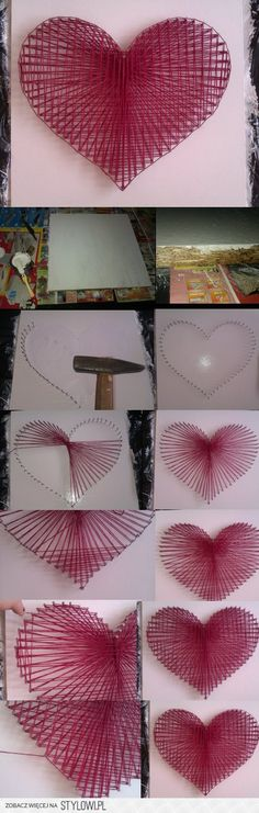 Creative Diy String Art Ideas Projects (Step-By-Step Tutorial) Fun Crafts, Diy And Crafts, Crafts For Kids, Arts And Crafts, Wood Crafts, String Art Diy, String Art Tutorials, Diy Y Manualidades, Heart Diy