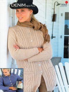 """womens aran jackets knitting pattern PDF ladies cable cardigans collared jacket round neck 32-42"""" aran worsted 10ply pdf instant download by Hobohooks on Etsy"""
