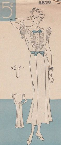 awesome Original 1930's Women's  Dress, Sewing Pattern, Size 42 # 5829   Check more at http://harmonisproduction.com/original-1930s-womens-dress-sewing-pattern-size-42-5829/