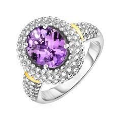 This sophisticated halo-style yellow gold & sterling silver ring features a beautiful oval amethyst available in ring sizes 6 to Ring Information Rhodium Polish Yes Avaliable Sizes 6 - 9 Metal Yellow Gold & Sterling Silver Amethyst Jewelry, Silver Jewelry, Amethyst Healing Properties, Buy Rings, Diamond Engagement Rings, Wedding Engagement, Wedding Rings, Gifts For Women, Sterling Silver Rings