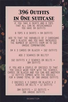 396 outfits in one suitcase