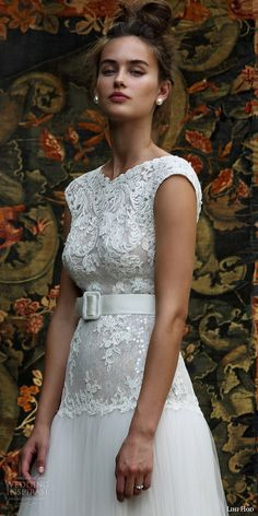 lihi hod bridal 2016 aria cap sleeve wedding dress lace embellished bodice skirt belt front view bodice embroidery zoom