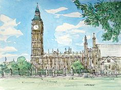Londres Big Ben et Westminster Abbey art impression dune