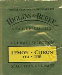 Tea Bag: Lemon (Higgins & Burke, Canada) (Gourmet Selection Tea) Col:TB-CA-0047