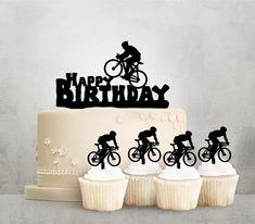 Desciption Happy Birthday Bicycle Cupcake Happy Birthday Bicycle, Bicycle Birthday Parties, Bicycle Party, Bicycle Cake, 21st Birthday Cake Toppers, 80 Birthday Cake, Birthday Bash, Birthday Wishes, Skateboard Cake