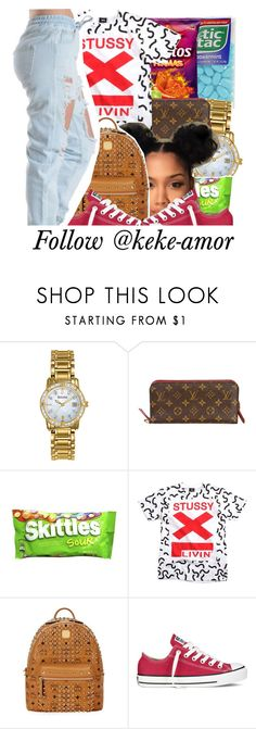 """"""""""" by haraj-uku ❤ liked on Polyvore featuring Bulova, Louis Vuitton, Stussy, MCM and Converse"""