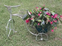 Wrought Iron Lg Trike with Basket Flower planter garden container metal bike Recycled Garden Art, Metal Garden Art, Flower Planters, Garden Planters, Hanging Baskets, Bike Baskets, Container Gardening, Flower Gardening, Flowers Nature
