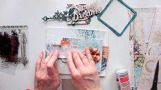 Blue Fern Studios product used Autumn Anthology paper Vintage Christmas paper Stamp: Forever Stamp: Journey Chipboard: Graduated Squares Chipboard: Flutter M...