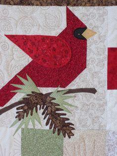 Luanne's 2012 Winter Quilt Close Up. Pieced block with applique.