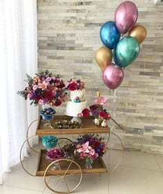 Ideas Birthday Balloons Adult Baby Shower For 2019 Birthday Party Decorations For Adults, Party Table Decorations, Balloon Decorations, 18th Birthday Party, Birthday Table, Birthday Party Themes, Havanna Party, Deco Buffet, Gold Party