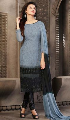 Perfect the celebration donning this ash gray and black chiffon long churidar suit. The desirable chikan, jaal and stones work a vital attribute of this dress.   #NewStyleCasualDreess