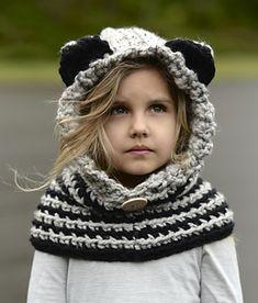 Raydin Raccoon Hood Crochet pattern by The Velvet Acorn Crochet Hood, Bonnet Crochet, Crochet Mittens, Crochet Gloves, Crochet Beanie, Knitted Hats, Knit Crochet, Crochet Pattern, Velvet Acorn