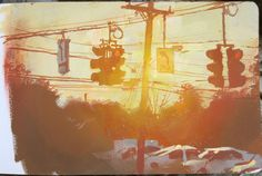 Traffic Lights, gouache over casein underpainting, 5 x 8 inches.