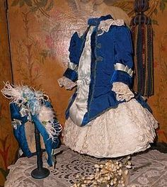 Superb French Blue silk Costume with matching Bonnet - WhenDreamsComeTrue #dollshopsunited