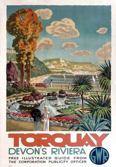 Torquay, Devon's Riviera. Vintage GWR Travel Poster. 1930s. Artwork by Martine.